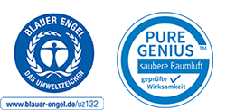 Blauer Engel Siegel und Pure Genius Button